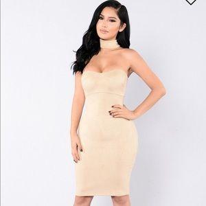 Fashion Nova Sued Choker Dress